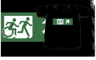 Accessible Means of Egress Icon Exit Sign Wheelchair Wheelie Running Man Symbol by Lee Wilson PWD Disability Emergency Evacuation Kids T-shirt 75
