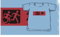 Accessible Means of Egress Icon Exit Sign Wheelchair Wheelie Running Man Symbol by Lee Wilson PWD Disability Emergency Evacuation Kids T-shirt 76