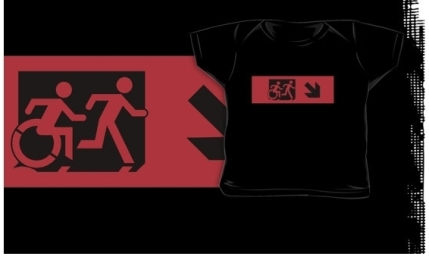 Accessible Means of Egress Icon Exit Sign Wheelchair Wheelie Running Man Symbol by Lee Wilson PWD Disability Emergency Evacuation Kids T-shirt 77