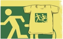 Accessible Means of Egress Icon Exit Sign Wheelchair Wheelie Running Man Symbol by Lee Wilson PWD Disability Emergency Evacuation Kids T-shirt 79
