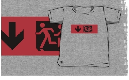 Accessible Means of Egress Icon Exit Sign Wheelchair Wheelie Running Man Symbol by Lee Wilson PWD Disability Emergency Evacuation Kids T-shirt 8