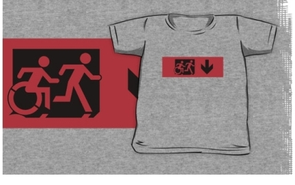 Accessible Means of Egress Icon Exit Sign Wheelchair Wheelie Running Man Symbol by Lee Wilson PWD Disability Emergency Evacuation Kids T-shirt 80
