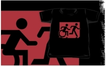 Accessible Means of Egress Icon Exit Sign Wheelchair Wheelie Running Man Symbol by Lee Wilson PWD Disability Emergency Evacuation Kids T-shirt 82
