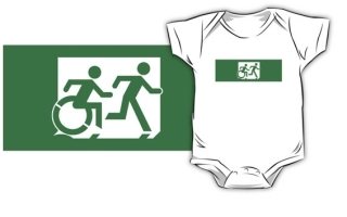 Accessible Means of Egress Icon Exit Sign Wheelchair Wheelie Running Man Symbol by Lee Wilson PWD Disability Emergency Evacuation Kids T-shirt 84