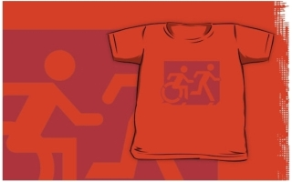 Accessible Means of Egress Icon Exit Sign Wheelchair Wheelie Running Man Symbol by Lee Wilson PWD Disability Emergency Evacuation Kids T-shirt 85
