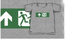 Accessible Means of Egress Icon Exit Sign Wheelchair Wheelie Running Man Symbol by Lee Wilson PWD Disability Emergency Evacuation Kids T-shirt 87