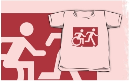 Accessible Means of Egress Icon Exit Sign Wheelchair Wheelie Running Man Symbol by Lee Wilson PWD Disability Emergency Evacuation Kids T-shirt 88