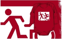 Accessible Means of Egress Icon Exit Sign Wheelchair Wheelie Running Man Symbol by Lee Wilson PWD Disability Emergency Evacuation Kids T-shirt 91