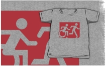 Accessible Means of Egress Icon Exit Sign Wheelchair Wheelie Running Man Symbol by Lee Wilson PWD Disability Emergency Evacuation Kids T-shirt 94