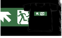 Accessible Means of Egress Icon Exit Sign Wheelchair Wheelie Running Man Symbol by Lee Wilson PWD Disability Emergency Evacuation Kids T-shirt 96