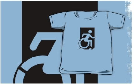 Accessible Means of Egress Icon Exit Sign Wheelchair Wheelie Running Man Symbol by Lee Wilson PWD Disability Emergency Evacuation Kids T-shirts 1