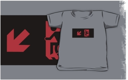 Accessible Means of Egress Icon Exit Sign Wheelchair Wheelie Running Man Symbol by Lee Wilson PWD Disability Emergency Evacuation Kids T-shirts 103