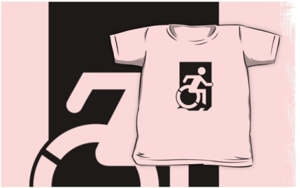 Accessible Means of Egress Icon Exit Sign Wheelchair Wheelie Running Man Symbol by Lee Wilson PWD Disability Emergency Evacuation Kids T-shirts 105