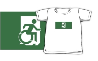 Accessible Means of Egress Icon Exit Sign Wheelchair Wheelie Running Man Symbol by Lee Wilson PWD Disability Emergency Evacuation Kids T-shirts 106