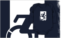 Accessible Means of Egress Icon Exit Sign Wheelchair Wheelie Running Man Symbol by Lee Wilson PWD Disability Emergency Evacuation Kids T-shirts 107