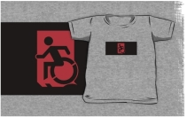 Accessible Means of Egress Icon Exit Sign Wheelchair Wheelie Running Man Symbol by Lee Wilson PWD Disability Emergency Evacuation Kids T-shirts 108