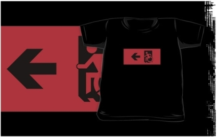 Accessible Means of Egress Icon Exit Sign Wheelchair Wheelie Running Man Symbol by Lee Wilson PWD Disability Emergency Evacuation Kids T-shirts 11