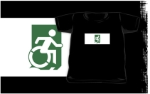 Accessible Means of Egress Icon Exit Sign Wheelchair Wheelie Running Man Symbol by Lee Wilson PWD Disability Emergency Evacuation Kids T-shirts 114