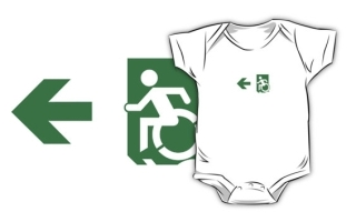 Accessible Means of Egress Icon Exit Sign Wheelchair Wheelie Running Man Symbol by Lee Wilson PWD Disability Emergency Evacuation Kids T-shirts 116