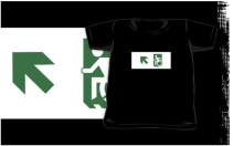 Accessible Means of Egress Icon Exit Sign Wheelchair Wheelie Running Man Symbol by Lee Wilson PWD Disability Emergency Evacuation Kids T-shirts 117