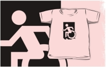 Accessible Means of Egress Icon Exit Sign Wheelchair Wheelie Running Man Symbol by Lee Wilson PWD Disability Emergency Evacuation Kids T-shirts 118