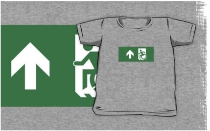 Accessible Means of Egress Icon Exit Sign Wheelchair Wheelie Running Man Symbol by Lee Wilson PWD Disability Emergency Evacuation Kids T-shirts 119