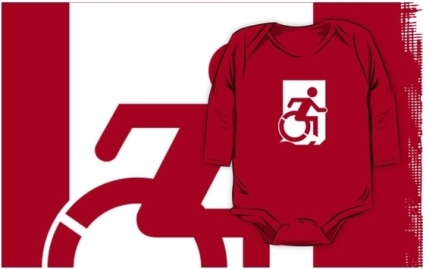 Accessible Means of Egress Icon Exit Sign Wheelchair Wheelie Running Man Symbol by Lee Wilson PWD Disability Emergency Evacuation Kids T-shirts 120