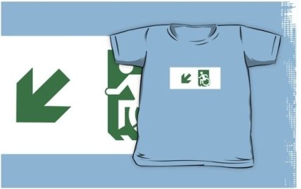 Accessible Means of Egress Icon Exit Sign Wheelchair Wheelie Running Man Symbol by Lee Wilson PWD Disability Emergency Evacuation Kids T-shirts 121