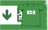 Accessible Means of Egress Icon Exit Sign Wheelchair Wheelie Running Man Symbol by Lee Wilson PWD Disability Emergency Evacuation Kids T-shirts 122