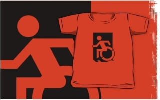 Accessible Means of Egress Icon Exit Sign Wheelchair Wheelie Running Man Symbol by Lee Wilson PWD Disability Emergency Evacuation Kids T-shirts 123
