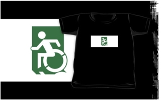 Accessible Means of Egress Icon Exit Sign Wheelchair Wheelie Running Man Symbol by Lee Wilson PWD Disability Emergency Evacuation Kids T-shirts 124