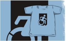 Accessible Means of Egress Icon Exit Sign Wheelchair Wheelie Running Man Symbol by Lee Wilson PWD Disability Emergency Evacuation Kids T-shirts 125