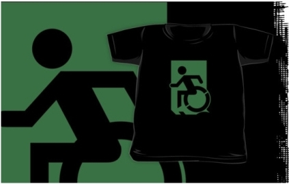 Accessible Means of Egress Icon Exit Sign Wheelchair Wheelie Running Man Symbol by Lee Wilson PWD Disability Emergency Evacuation Kids T-shirts 127