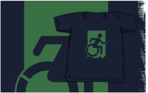 Accessible Means of Egress Icon Exit Sign Wheelchair Wheelie Running Man Symbol by Lee Wilson PWD Disability Emergency Evacuation Kids T-shirts 129