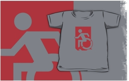 Accessible Means of Egress Icon Exit Sign Wheelchair Wheelie Running Man Symbol by Lee Wilson PWD Disability Emergency Evacuation Kids T-shirts 133