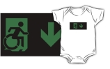 Accessible Means of Egress Icon Exit Sign Wheelchair Wheelie Running Man Symbol by Lee Wilson PWD Disability Emergency Evacuation Kids T-shirts 134