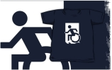 Accessible Means of Egress Icon Exit Sign Wheelchair Wheelie Running Man Symbol by Lee Wilson PWD Disability Emergency Evacuation Kids T-shirts 135
