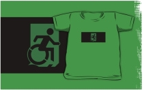 Accessible Means of Egress Icon Exit Sign Wheelchair Wheelie Running Man Symbol by Lee Wilson PWD Disability Emergency Evacuation Kids T-shirts 136