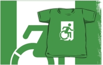 Accessible Means of Egress Icon Exit Sign Wheelchair Wheelie Running Man Symbol by Lee Wilson PWD Disability Emergency Evacuation Kids T-shirts 137