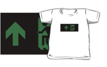 Accessible Means of Egress Icon Exit Sign Wheelchair Wheelie Running Man Symbol by Lee Wilson PWD Disability Emergency Evacuation Kids T-shirts 138