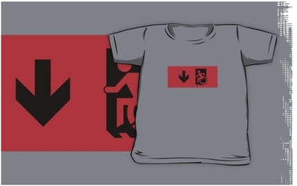Accessible Means of Egress Icon Exit Sign Wheelchair Wheelie Running Man Symbol by Lee Wilson PWD Disability Emergency Evacuation Kids T-shirts 14