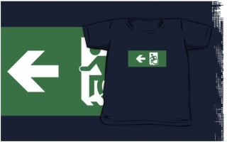 Accessible Means of Egress Icon Exit Sign Wheelchair Wheelie Running Man Symbol by Lee Wilson PWD Disability Emergency Evacuation Kids T-shirts 140