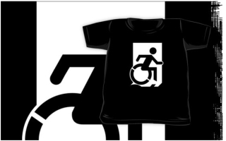 Accessible Means of Egress Icon Exit Sign Wheelchair Wheelie Running Man Symbol by Lee Wilson PWD Disability Emergency Evacuation Kids T-shirts 141