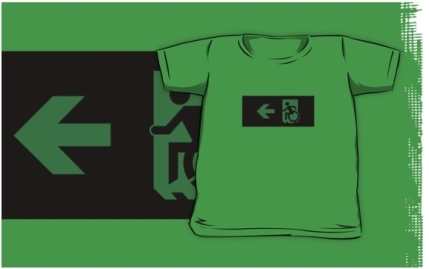Accessible Means of Egress Icon Exit Sign Wheelchair Wheelie Running Man Symbol by Lee Wilson PWD Disability Emergency Evacuation Kids T-shirts 142