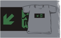 Accessible Means of Egress Icon Exit Sign Wheelchair Wheelie Running Man Symbol by Lee Wilson PWD Disability Emergency Evacuation Kids T-shirts 144