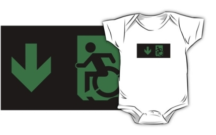 Accessible Means of Egress Icon Exit Sign Wheelchair Wheelie Running Man Symbol by Lee Wilson PWD Disability Emergency Evacuation Kids T-shirts 145