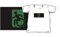 Accessible Means of Egress Icon Exit Sign Wheelchair Wheelie Running Man Symbol by Lee Wilson PWD Disability Emergency Evacuation Kids T-shirts 146