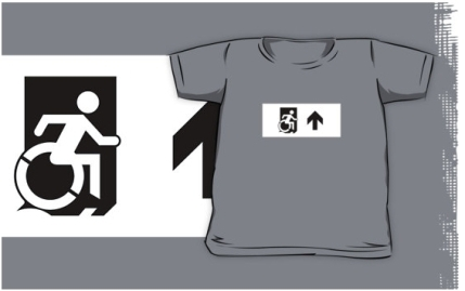 Accessible Means of Egress Icon Exit Sign Wheelchair Wheelie Running Man Symbol by Lee Wilson PWD Disability Emergency Evacuation Kids T-shirts 147