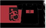 Accessible Means of Egress Icon Exit Sign Wheelchair Wheelie Running Man Symbol by Lee Wilson PWD Disability Emergency Evacuation Kids T-shirts 15