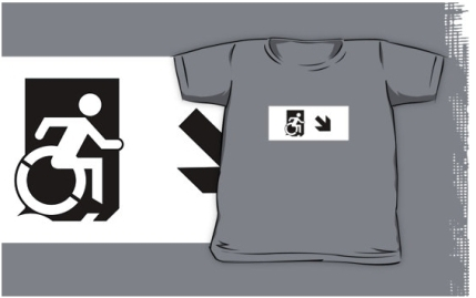 Accessible Means of Egress Icon Exit Sign Wheelchair Wheelie Running Man Symbol by Lee Wilson PWD Disability Emergency Evacuation Kids T-shirts 150